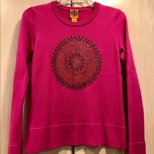 Tory Burch Pink Rhinestone Wool Sweater size S